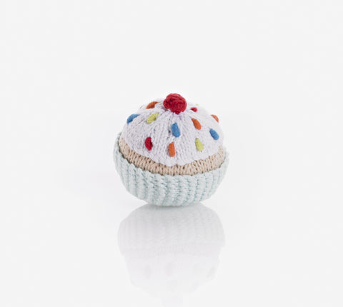 Pebble Cupcake Rattle - Light Turquoise with White Icing and Cherry