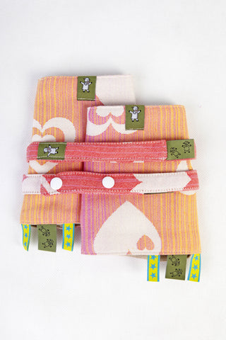 LennyLamb Drool Pads & Reach Straps Set - Joyful Sweetheart (100% Cotton)