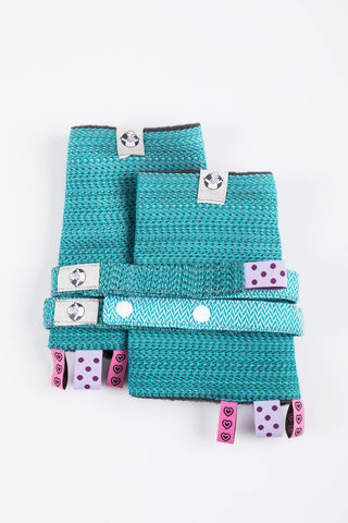 OceanoKidz.com - LennyLamb Drool Pads & Reach Straps Set - Little Herringbone Ombre Teal (60% cotton, 40% polyester)