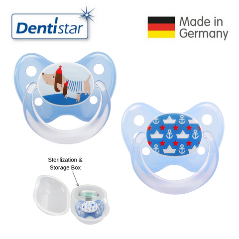 OceanoKidz.com - Dentistar Tooth-friendly Pacifier Size 2 (set of 2) with Sterilization Box - Dog & Anchor