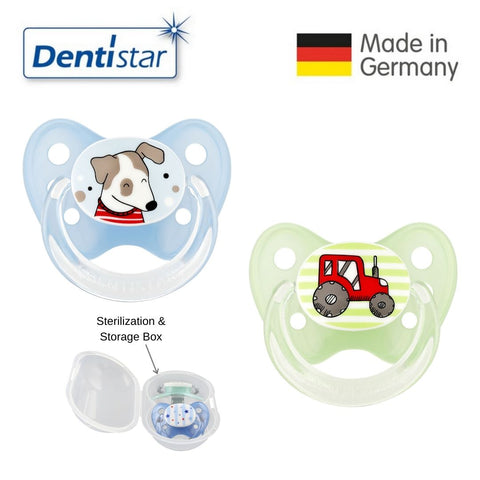 Dentistar Tooth-friendly Pacifier Size 2 (set of 2) with Sterilization Box - Dog & Tractor