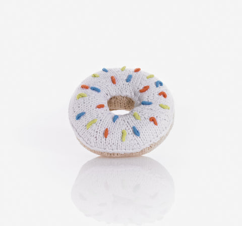 Pebble Donut Rattle - White