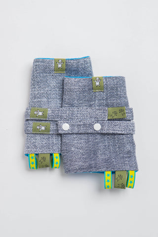 OceanoKidz.com - LennyLamb Drool Pads & Reach Straps Set - Denim Blue (100% Cotton)