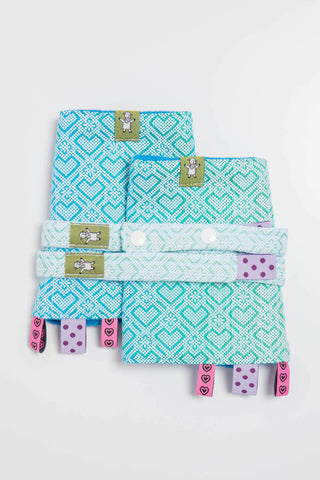OceanoKidz.com - LennyLamb Drool Pads & Reach Straps Set - Big Love - Ice Mint (100% Cotton)