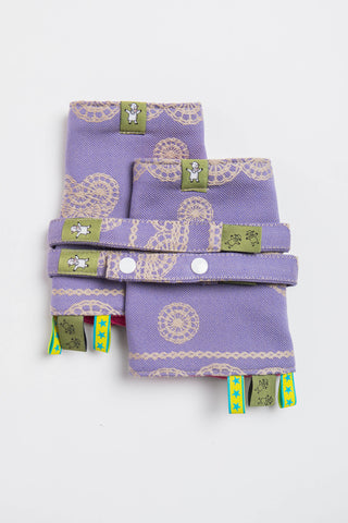 LennyLamb Drool Pads & Reach Straps Set - Plum Lace (100% Cotton)