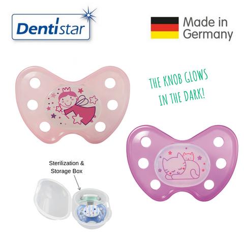 OceanoKidz.com - Dentistar Tooth-friendly Night Pacifier Size 3 (set of 2) with Sterilization Box - Fairy & Cat