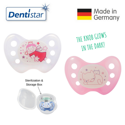 Dentistar Tooth-friendly Night Pacifier Size 1 (set of 2) with Sterilization Box - Fairy & Cat