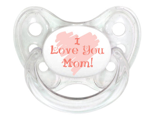 OceanoKidz.com - Dentistar Tooth-friendly Pacifier Silicone (6-14 months) size 2 with protective cap - I love you, mom! *Special Edition*