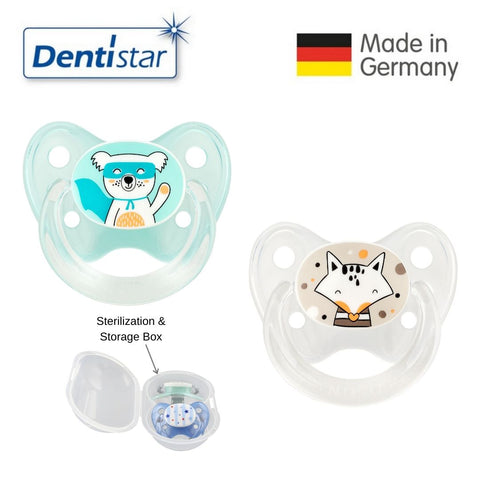 Dentistar Tooth-friendly Pacifier Size 2 (set of 2) with Sterilization Box - Koala & Fox