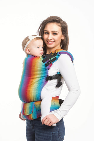 OceanoKidz.com - LennyUp Carrier - Little Herringbone Rainbow Navy Blue (Herringbone Weave 100% Cotton)