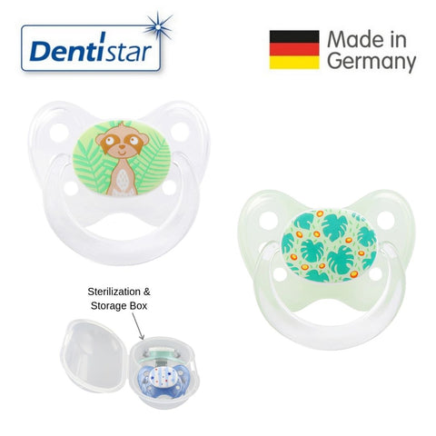 OceanoKidz.com - Dentistar Tooth-friendly Pacifier Size 1 (set of 2) with Sterilization Box - Meerkat & Palm Leaves