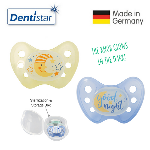 OceanoKidz.com - Dentistar Tooth-friendly Night Pacifier Size 3 (set of 2) with Sterilization Box - Moon & Good Night