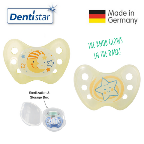 Dentistar Tooth-friendly Night Pacifier Size 1 (set of 2) with Sterilization Box - Moon & Star
