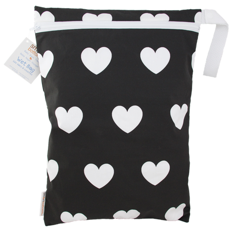 OceanoKidz.com - Smart Bottoms On the Go Wet Bags - White Hearts on Black II [Oceano Kidz Exclusive]