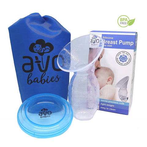 Avo Babies Silicone Manual Breast Pump with Lid & Bag Set