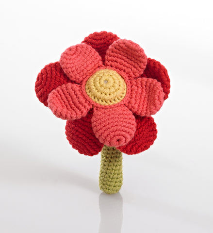 Pebble Flower Rattle - Red