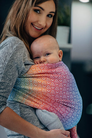 OceanoKidz.com - LennyLamb Ring Sling - Big Love - Rainbow (Jacquard Weave 100% Cotton)