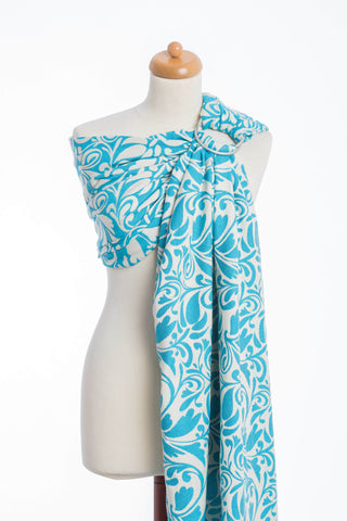 OceanoKidz.com - LennyLamb Ring Sling - Twisted Leaves Cream & Turquoise (Jacquard Weave 100% Cotton)