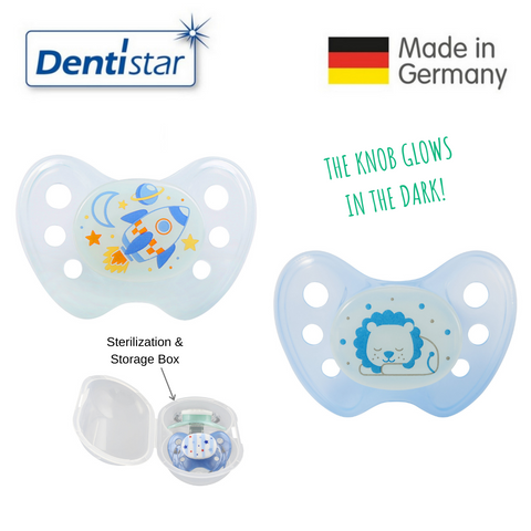 Dentistar Tooth-friendly Night Pacifier Size 2 (set of 2) with Sterilization Box - Rocket & Lion