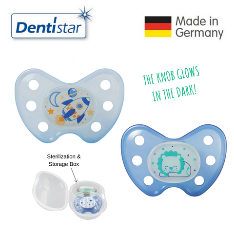 OceanoKidz.com - Dentistar Tooth-friendly Night Pacifier Size 3 (set of 2) with Sterilization Box - Rocket & Lion