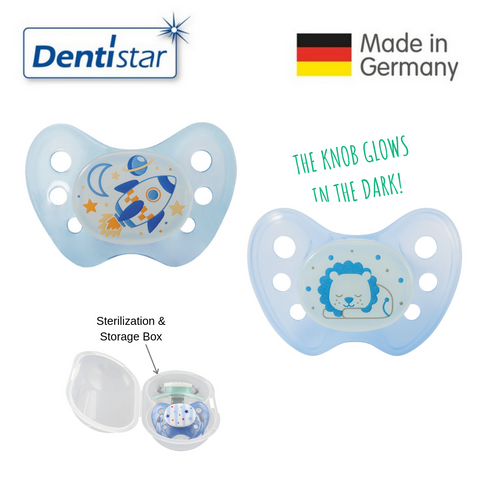 Dentistar Tooth-friendly Night Pacifier Size 1 (set of 2) with Sterilization Box - Rocket & Lion