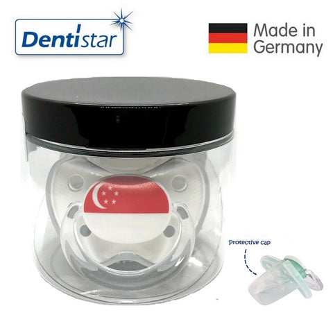 OceanoKidz.com - Dentistar Tooth-friendly Pacifier Silicone (14+ months) size 3, with protective cap - Singapore Flag *Special Edition*