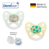 OceanoKidz.com - Dentistar Tooth-friendly Pacifier Size 3 (set of 2) with Sterilization Box - Sloths & Palm Leaves