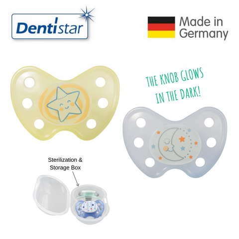 OceanoKidz.com - Dentistar Tooth-friendly Night Pacifier Size 3 (set of 2) with Sterilization Box - Star & Transparent Moon