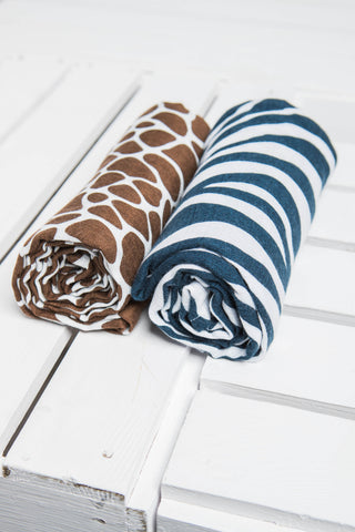LennyLamb Swaddle Wrap Set - ZEBRA NAVY BLUE & WHITE, GIRAFFE BROWN & CREAM