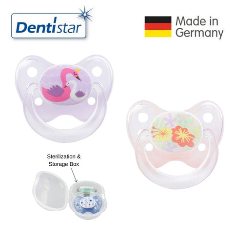 OceanoKidz.com - Dentistar Tooth-friendly Pacifier Size 1 (set of 2) with Sterilization Box - Swan & Flowers