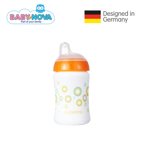 Baby Nova Non-Spill Cup 285 ml in White/Orange (6+ months)