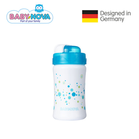 Baby Nova Straw Cup 340 ml in White/Blue (6+ months)