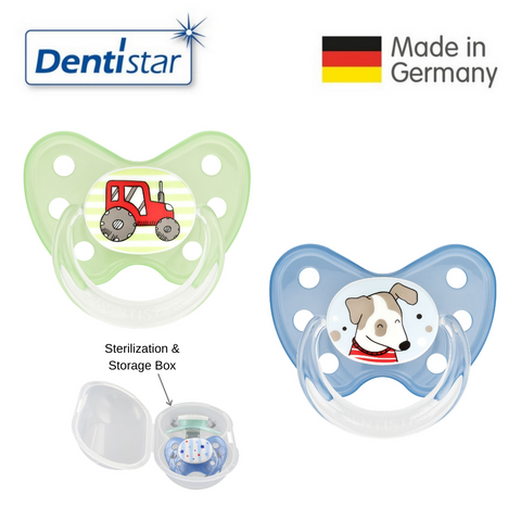 Dentistar Tooth-friendly Pacifier Size 3 (set of 2) with Sterilization Box - Tractor and Dog
