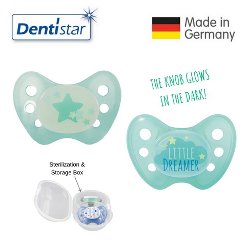 OceanoKidz.com - Dentistar Tooth-friendly Night Pacifier Size 2 (set of 2) with Sterilization Box - Turquoise Star & Little Dreamer