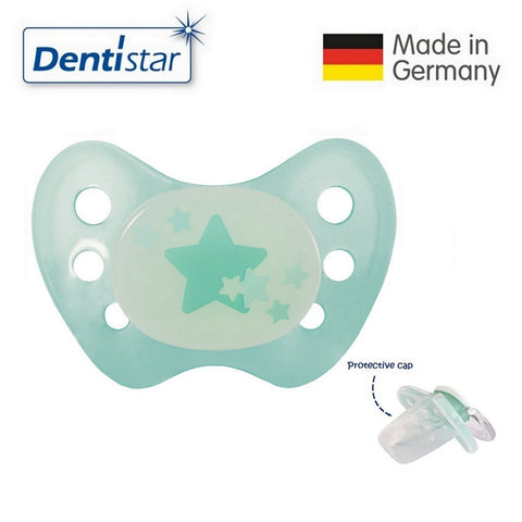 OceanoKidz.com - Dentistar Tooth-friendly Night Pacifier (6-14 months) size 2 without ring, with protective cap - Turquoise Stars