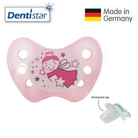 OceanoKidz.com - Dentistar Tooth-friendly Night Pacifier (6-14 months) size 2 without ring, with protective cap - Fairy