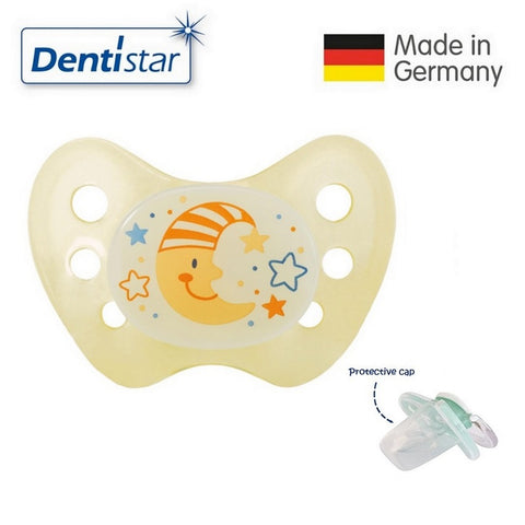 OceanoKidz.com - Dentistar Tooth-friendly Night Pacifier (0-6 months) size 1 without ring, with protective cap - Moon
