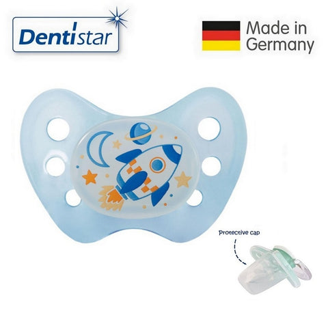 OceanoKidz.com - Dentistar Tooth-friendly Night Pacifier (6-14 months) size 2 without ring, with protective cap - Rocket