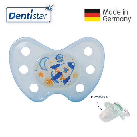 OceanoKidz.com - Dentistar Tooth-friendly Night Pacifier (14+ months) size 3 without ring, with protective cap - Rocket