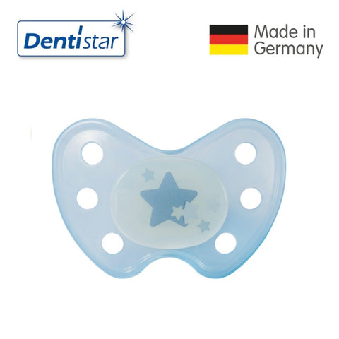OceanoKidz.com - Dentistar Tooth-friendly Night Pacifier (14+ months) size 3 without ring - Blue Star [No protective cap]