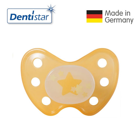 OceanoKidz.com - Dentistar Tooth-friendly Night Pacifier (14+ months) size 3 without ring - Yellow Star [No protective cap]