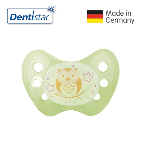 OceanoKidz.com - Dentistar Tooth-friendly Night Pacifier (14+ months) size 3 without ring - Owl [No protective cap]