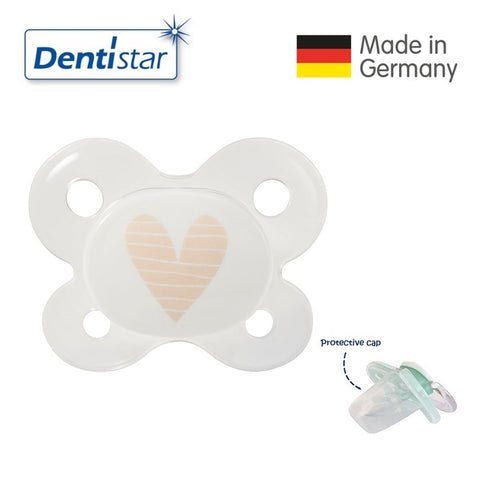 OceanoKidz.com - Dentistar Tooth-friendly Pacifier (0-2 months) size 0 with protective cap - Beige Heart