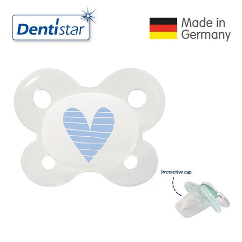 OceanoKidz.com - Dentistar Tooth-friendly Pacifier (0-2 months) size 0 with protective cap - Light Blue Heart