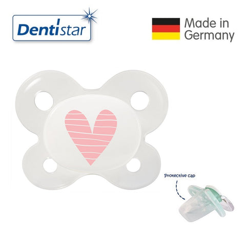 OceanoKidz.com - Dentistar Tooth-friendly Pacifier (0-2 months) size 0 with protective cap - Pink Heart