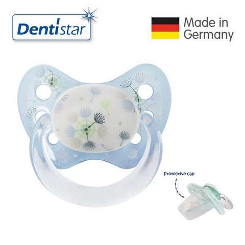 OceanoKidz.com - Dentistar Tooth-friendly Pacifier Silicone (0-6 months) size 1 with protective cap - Blue Dandelions
