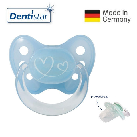 OceanoKidz.com - Dentistar Tooth-friendly Pacifier (0-6 months) size 1 with protective cap - Blue Hearts