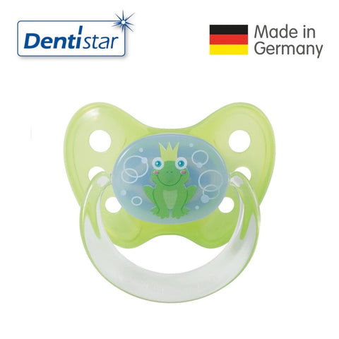 OceanoKidz.com - Dentistar Tooth-friendly Pacifier Soother Silicone (0-6 months) size 1 with ring - Frog [No protective cap]