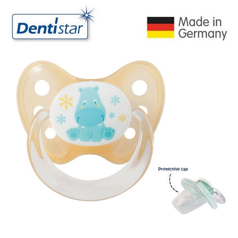 OceanoKidz.com - Dentistar Tooth-friendly Pacifier Silicone (0-6 months) size 1 with protective cap - Hippo