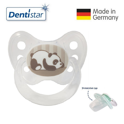OceanoKidz.com - Dentistar Tooth-friendly Pacifier Silicone (0-6 months) size 1 with protective cap - Panda